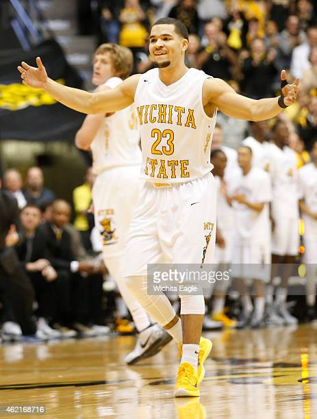 Wichita State's Fred VanVleet tries to get the crowd louder during a run in the first half on Sunday, Jan. 25 in Wichita, Kan.