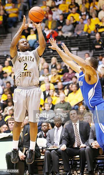 Wichita State's Malcolm Armstead shoots a 3pointer against Drake in the second half at Koch Arena in Wichita Kansas on Wednesday February 13 2013...