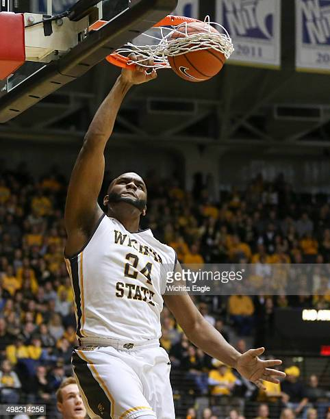 Wichita State's Shaquille Morris dunks against Emporia State during the first half at Koch Arena in Wichita Kan on Saturday Nov 21 2015 Wichita State...