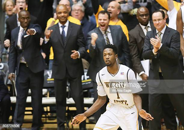 Wichita State's Zach Brown reacts after his 3pointer hits the bottom of the net late in the game against Evansville at Koch Arena in Wichita Kan on...