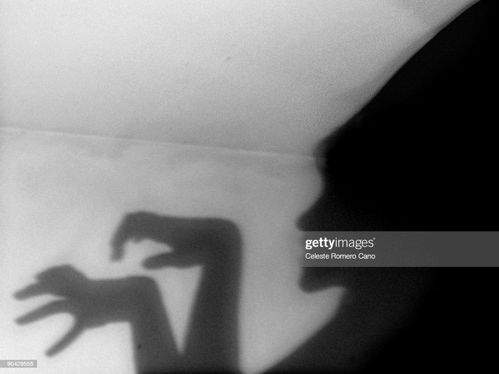 Wicked female shadow on the wall : Stock Photo