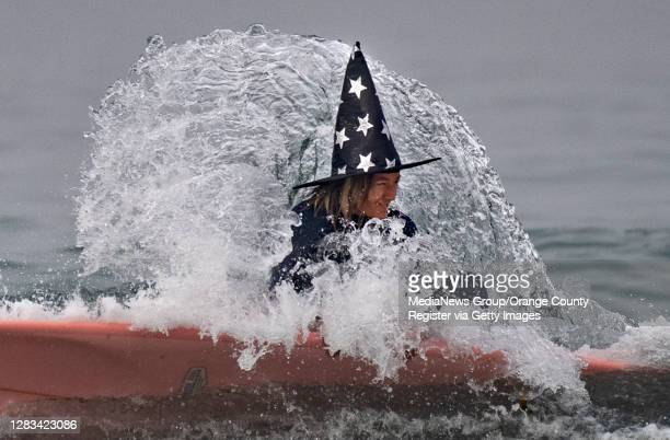 Wicked wave sipes a wizard during Blackies 17th Annual Halloween event in Newport Beach on Saturday, October 31, 2020.