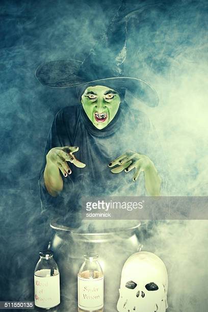wicked witch casting spell over cauldron - ugly witches stock photos and pictures