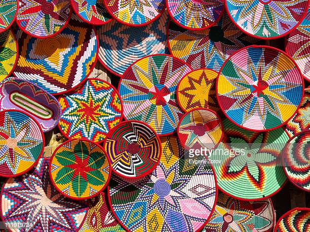 wicker baskets for food - ethiopia stock photos and pictures
