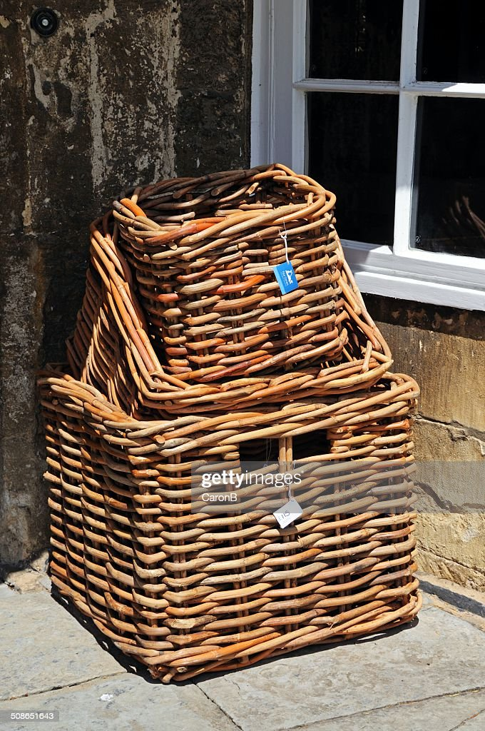 Wicker baskets for sale, Broadway. : Stock Photo