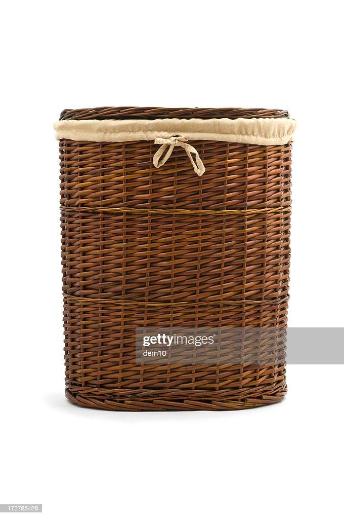 Wicker laundry basket : Stock Photo