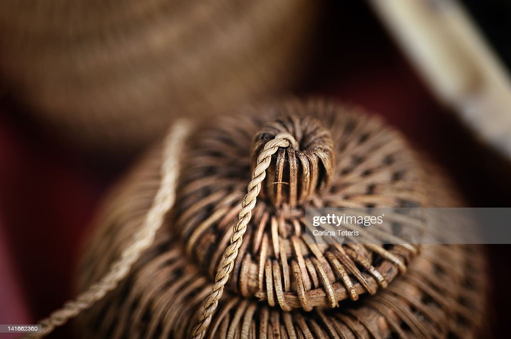 Wicker spice basket : Stock Photo