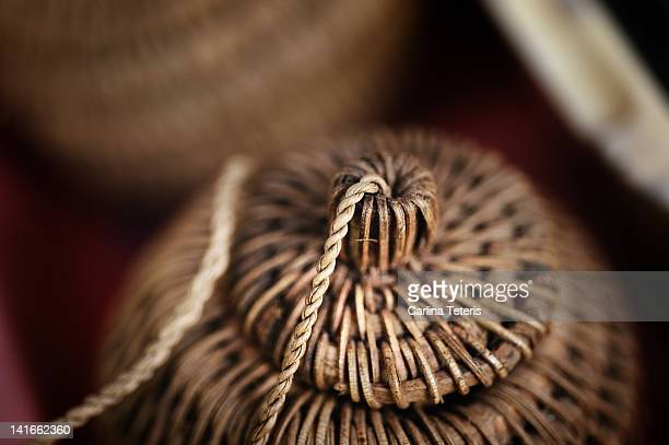 wicker spice basket - lid stock photos and pictures