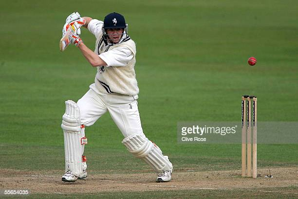 Wicket Keeper Niall O'Brien of Kent hits out during the Frizzel County Championship match between Kent and Nottinghamshire at Kent County Cricket...