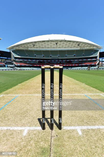 Wicket view during the Women's Big Bash League match between the Adelaide Strikers and the Melbourne Stars at Adelaide Oval on January 9 2018 in...