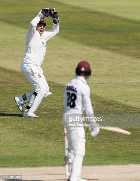 Wicketkeeper Adam Rossington of Northamptonshire celebrates taking a catch to dismiss Tom Abell of Somerset during day one of the Bob Willis Trophy...