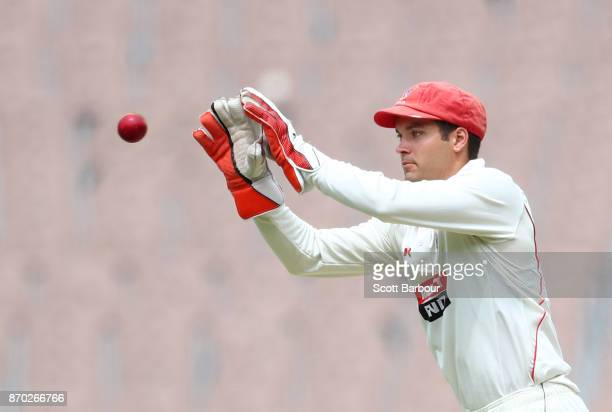 Wicketkeeper Alex Carey of South Australia catches the ball during day two of the Sheffield Shield match between Victoria and South Australia at the...