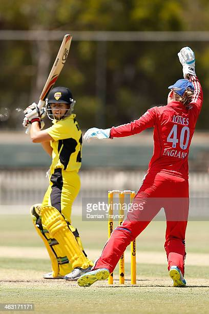 Wicketkeeper Amy Jones of England takes a catch to dismiss Nicole Bolton of Western Australia during the International Tour match between the...