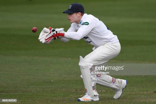 Wicketkeeper Ben Brown of Sussex gathers a return during day three of the Specsavers County Championship Division Two match between Sussex and Kent...