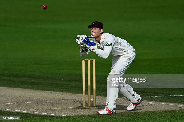 Wicketkeeper Ben Foakes of Surrey in action during a friendly match between Sussex and Surrey at BrightonandHoveJobscom County Ground on March 29...