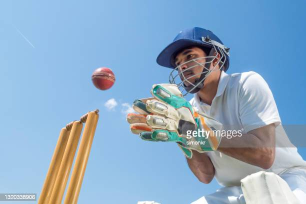 wicketkeeper catching cricket ball - catching stock pictures, royalty-free photos & images
