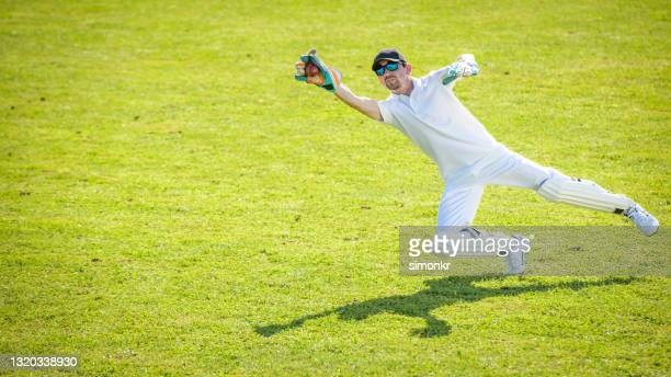 wicketkeeper diving on field - cricket pitch stock pictures, royalty-free photos & images