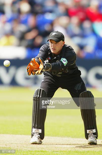 Wicketkeeper Gareth Hopkins of New Zealand in action during the 6th NatWest Series match between New Zealand and the West Indies at Sophia Gardens on...