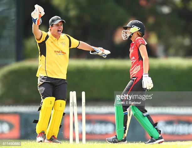 Wicketkeeper Johnny Ruffo celebrates as Carrie Bickmore is bowled out during the Medibank Melbourne Celebrity Twenty20 match at North Port Oval on...