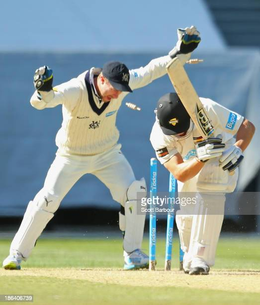 Wicketkeeper Matthew Wade celebrates as Fawad Ahmed of the Bushrangers bowls Hilton Cartwright of the Warriors during day two of the Sheffield Shield...