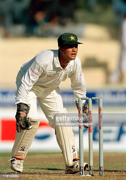 Wicketkeeper Moin Khan of Pakistan during the Champions Trophy tournament in Sharjah United Arab Emirates during October 1996