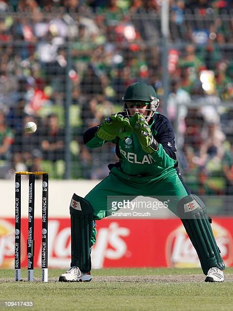Wicketkeeper Niall O'Brien of Ireland prepares to make a catch during the 2011 ICC World Cup Group B match between Bangladesh and Ireland at...