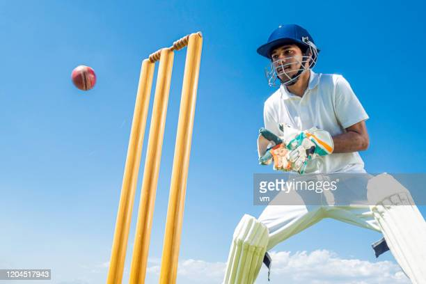 wicket-keeper preparing to catch the ball - wicket stock pictures, royalty-free photos & images