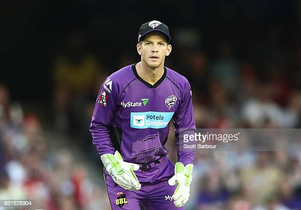 Wicketkeeper Tim Paine of the Hurricanes looks on during the Big Bash League match between the Melbourne Renegades and the Hobart Hurricanes at...