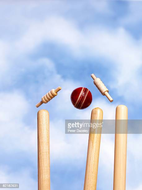 wickets being knocked of stumps against blue sky - wicket stock pictures, royalty-free photos & images