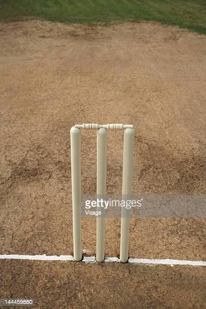 wickets on the pitch, top angle view - crease cricket field stock pictures, royalty-free photos & images
