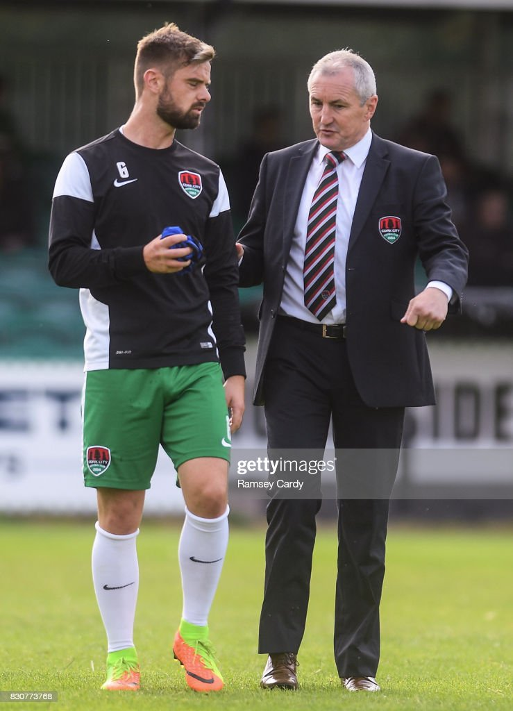 Wicklow , Ireland - 12 August 2017; Cork manager John Caulfield in conversation with Greg Bolger ahead of the Irish Daily Mail FAI Cup first round match between Bray Wanderers and Cork City at the Carlisle Grounds in Bray, Co. Wicklow.