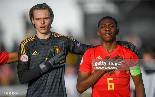 Wicklow Ireland 12 May 2019 Maarten Vandevoordt left and Marco Kana of Belgium during the 2019 UEFA European Under17 Championships quarterfinal match...