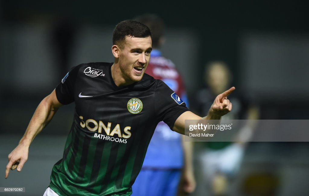 Wicklow , Ireland - 13 March 2017; Aaron Greene of Bray Wanderers celebrates after scoring his side's first goal during the SSE Airtricity League Premier Division match between Bray Wanderers and Drogheda United at Carlisle Grounds in Bray, Co Wicklow.