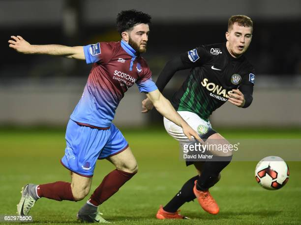 Wicklow Ireland 13 March 2017 Adam Wixted of Drogheda United in action against Ryan Robinson of Bray Wanderers during the SSE Airtricity League...