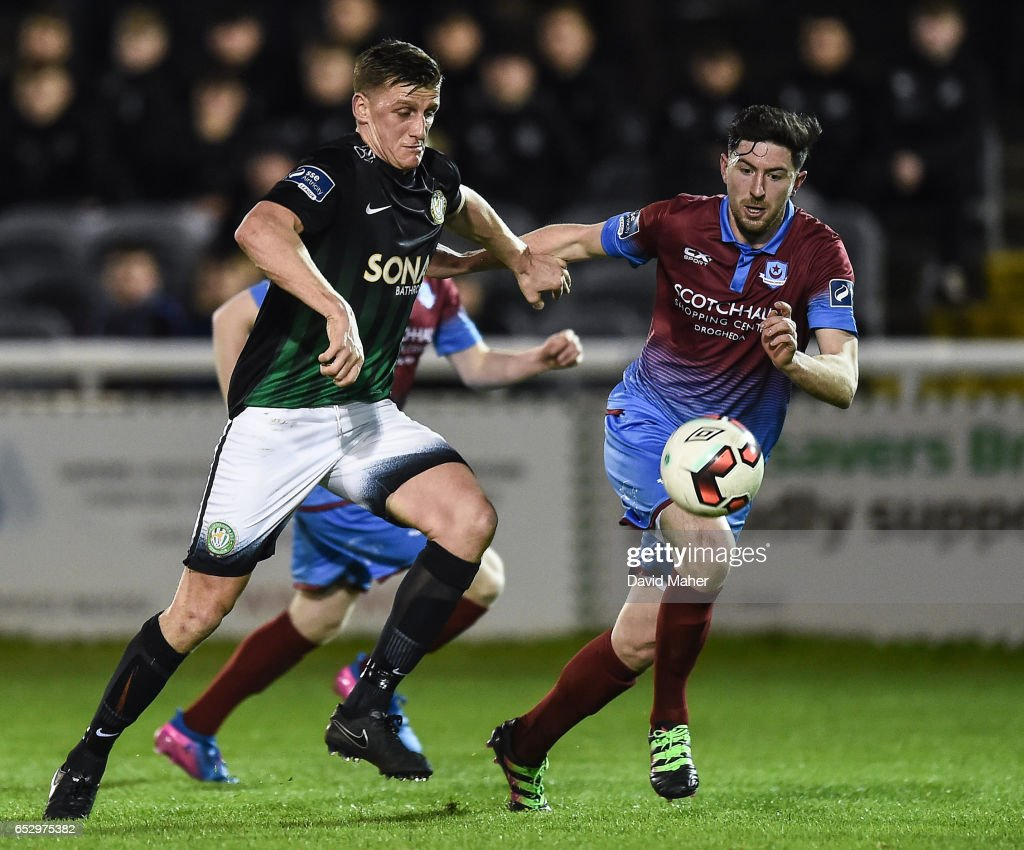 Wicklow , Ireland - 13 March 2017; Anto Flood of Bray Wanderers in action against Ciaran McGuigan of Drogheda United during the SSE Airtricity League Premier Division match between Bray Wanderers and Drogheda United at the Carlisle Grounds in Bray, Co Wicklow.