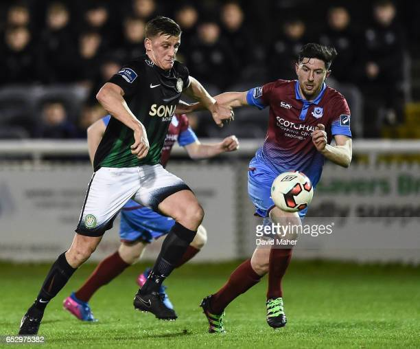 Wicklow Ireland 13 March 2017 Anto Flood of Bray Wanderers in action against Ciaran McGuigan of Drogheda United during the SSE Airtricity League...