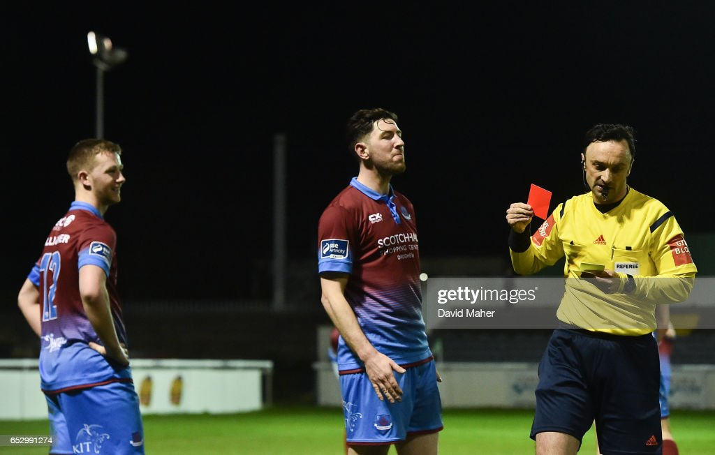 Wicklow , Ireland - 13 March 2017; Referee Neil Doyle shows a red card to Luke Gallagher, left, of Drogheda United during the SSE Airtricity League Premier Division match between Bray Wanderers and Drogheda United at the Carlisle Grounds in Bray, Co Wicklow.