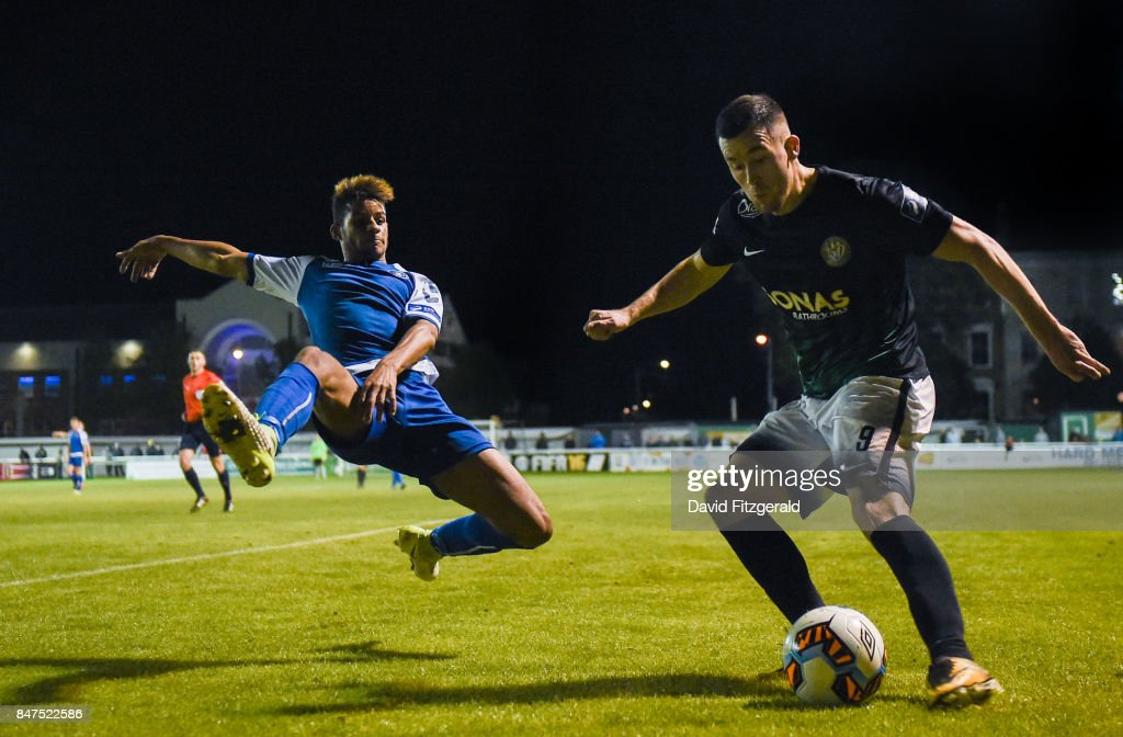 Wicklow , Ireland - 15 September 2017; Aaron Greene of Bray Wanderers in action against Barry Cotter of Limerick during the SSE Airtricity League Premier Division match between Bray Wanderers and Limerick FC at the Carlisle Grounds in Wicklow.