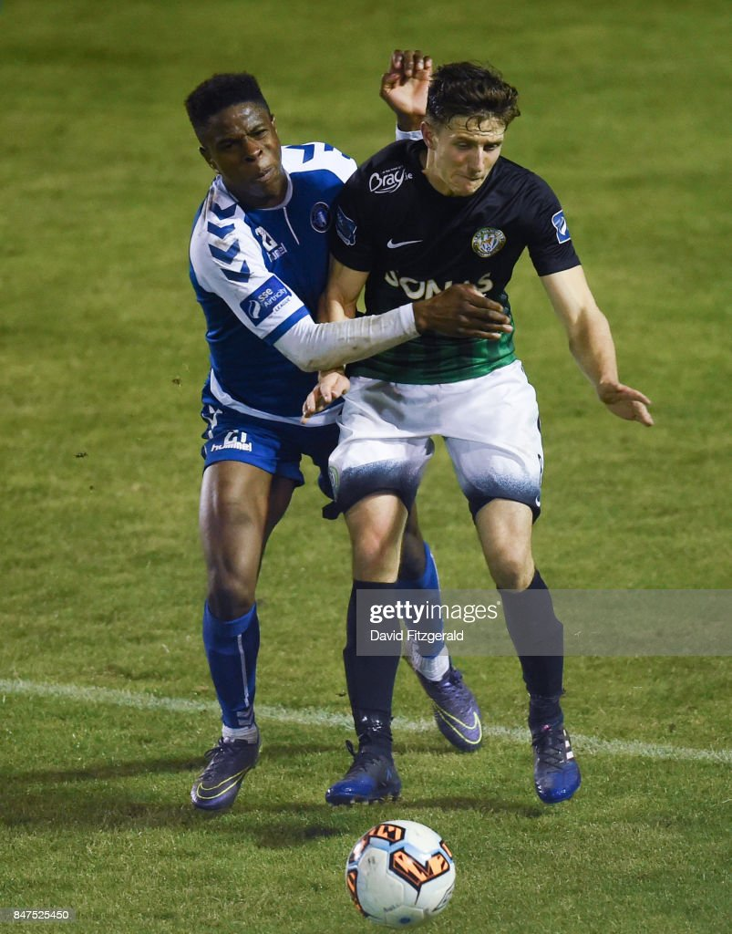 Wicklow , Ireland - 15 September 2017; Keith Buckley of Bray Wanderers in action against Chiedozie Ogbene of Limerick during the SSE Airtricity League Premier Division match between Bray Wanderers and Limerick FC at the Carlisle Grounds in Wicklow.