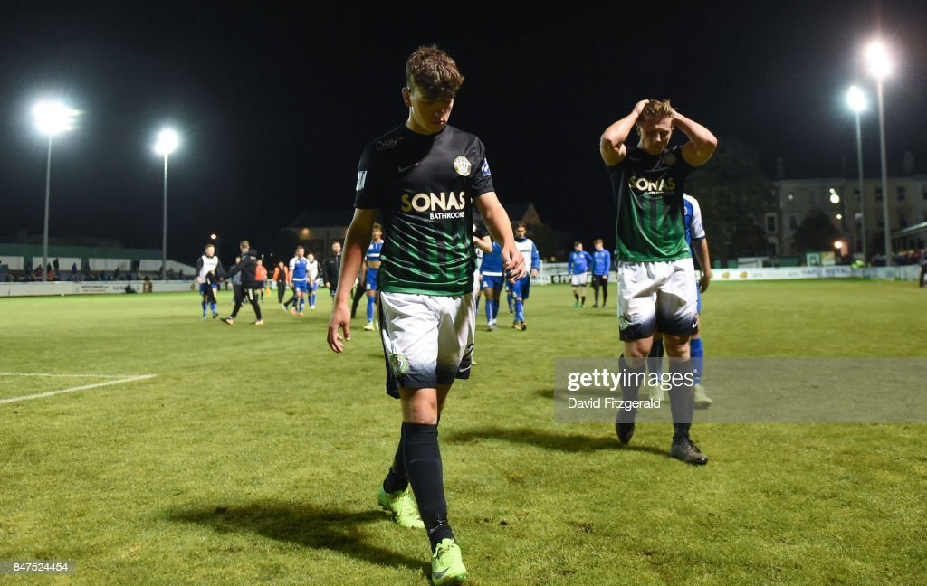 Wicklow , Ireland - 15 September 2017; Ryan Robinson, left, and John Sullivan of Bray Wanderers leave the field following the SSE Airtricity League Premier Division match between Bray Wanderers and Limerick FC at the Carlisle Grounds in Wicklow.