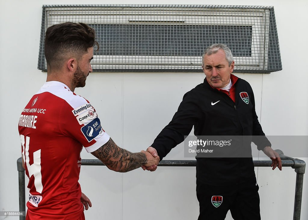 Wicklow , Ireland - 16 July 2017; Manager of Cork City John Caulfield shakes hands with Sean Maguire at the end of the SSE Airtricity League Premier Division match between Bray Wanderers and Cork City at the Carlisle Grounds in Bray, Co. Wicklow.