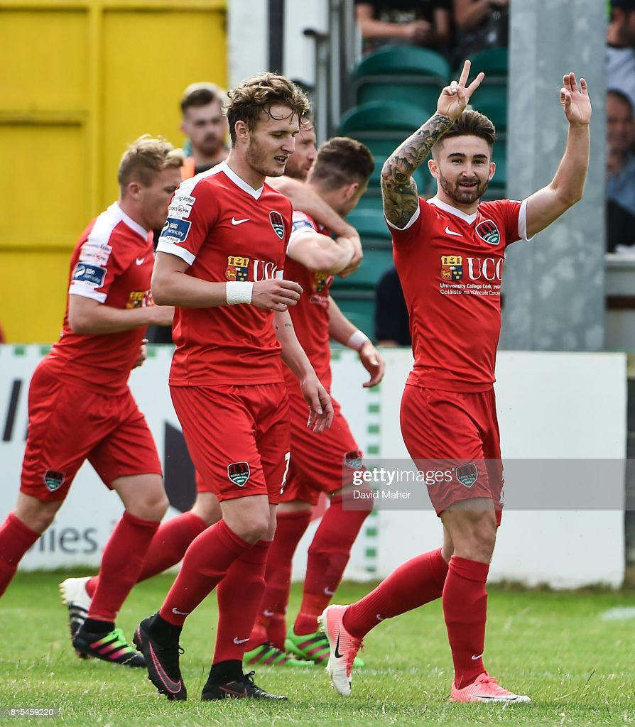 Wicklow , Ireland - 16 July 2017; Sean Maguire of Cork City celebrates after scoring his side's first goal during the SSE Airtricity League Premier Division match between Bray Wanderers and Cork City at the Carlisle Grounds in Bray, Co. Wicklow.