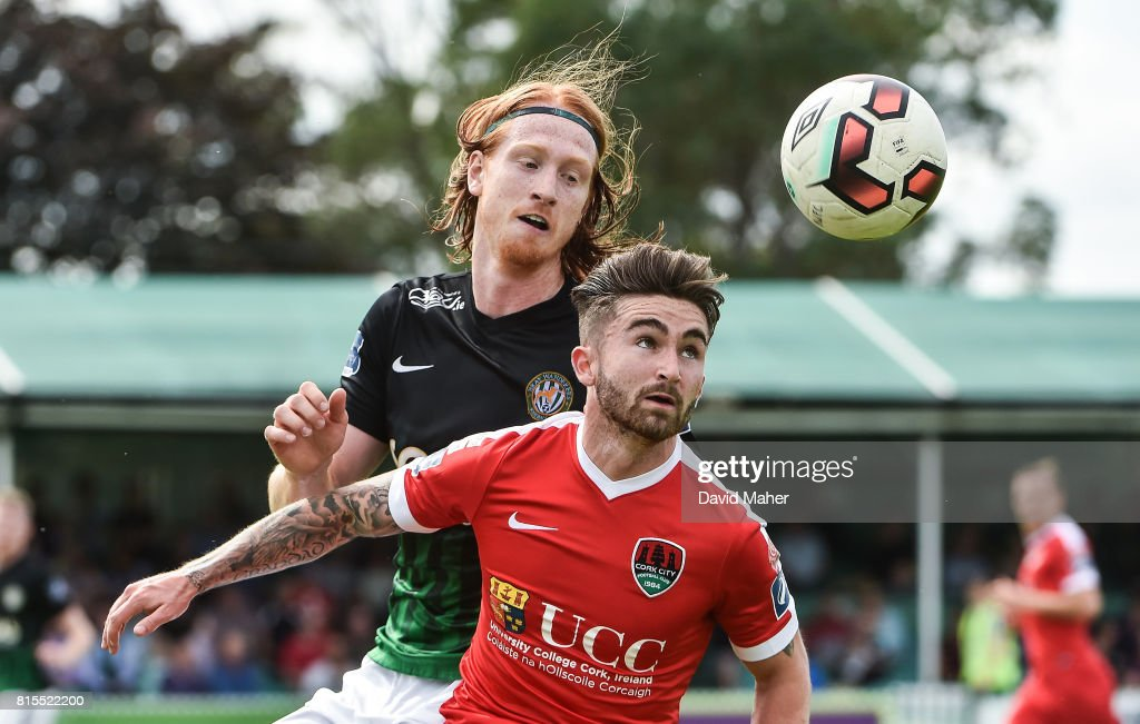 Wicklow , Ireland - 16 July 2017; Sean Maguire of Cork City in action against Hugh Douglas of Bray Wanderers during the SSE Airtricity League Premier Division match between Bray Wanderers and Cork City at the Carlisle Grounds in Bray, Co. Wicklow.