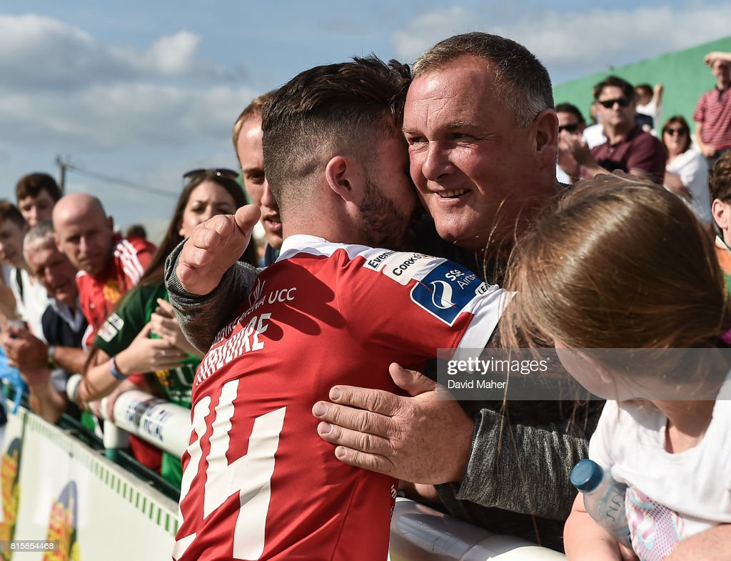 Wicklow , Ireland - 16 July 2017; Sean Maguire of Cork City with supporters for his last appearance for Cork City during SSE Airtricity League Premier Division match between Bray Wanderers and Cork City at the Carlisle Grounds in Bray, Co. Wicklow.