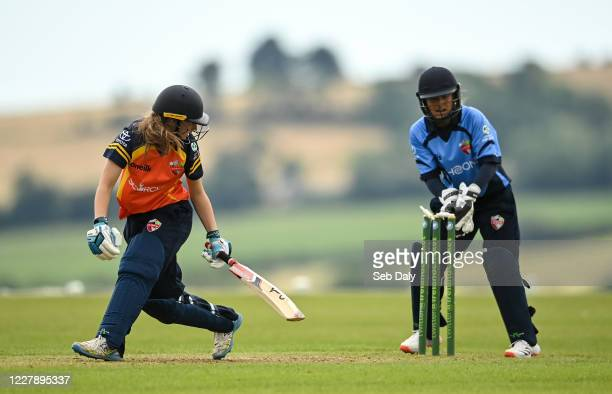 Wicklow Ireland 3 August 2020 Alana Dalzell of Scorchers is stumped out my Typhoons wicketkeeper Amy Hunter during the Women's Super Series match...