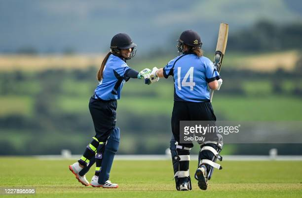 Wicklow Ireland 3 August 2020 Amy Hunter left and Laura Delany of Typhoons during the Women's Super Series match between Typhoons and Scorchers at...