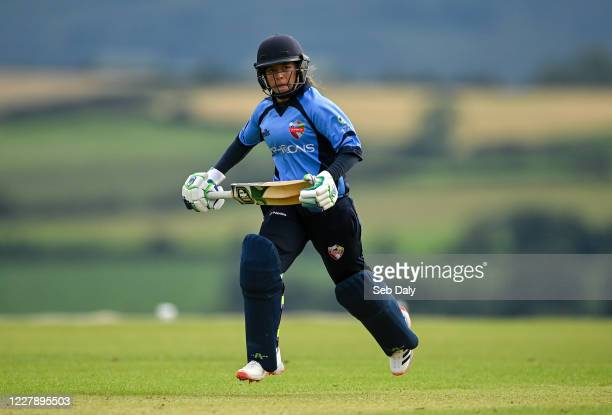 Wicklow Ireland 3 August 2020 Amy Hunter of Typhoons during the Women's Super Series match between Typhoons and Scorchers at Oak Hill Cricket Ground...