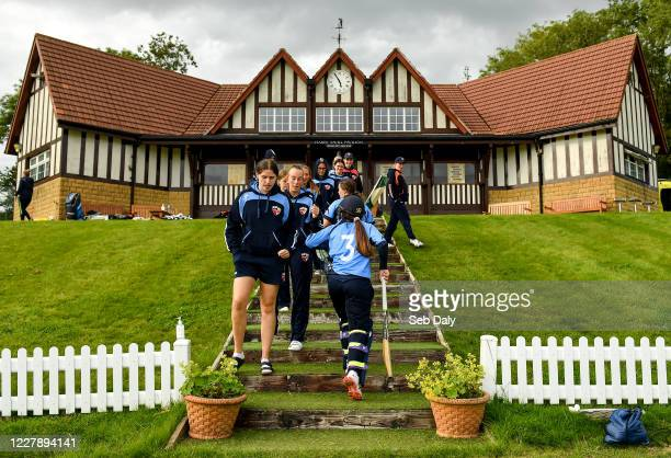 Wicklow Ireland 3 August 2020 Amy Hunter of Typhoons is congratulated by teammates as she returns to the club house following her side's victory...