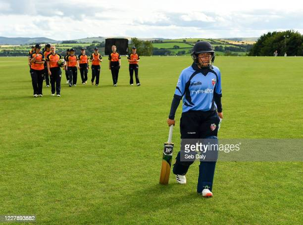 Wicklow Ireland 3 August 2020 Amy Hunter of Typhoons leaves the field following her side's victory during the Women's Super Series match between...