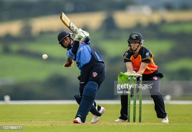 Wicklow Ireland 3 August 2020 Amy Hunter of Typhoons plays a shot watched by Scorchers wickerkeeper Shauna Kavanagh during the Women's Super Series...